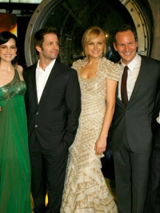 Donny Woodburn, Jackie Earle Haley, Carla Gugino, Zack Snyder, Malin Ackerman, Patrick Wilson and Jeffrey Dean Morgan at the LA 'Watchmen' premiere