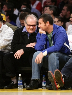 Jack Nicholson and Adam Sandler attend the Los Angeles Lakers vs Memphis Grizzlies game at Staples Center on March 3, 2009 in LA