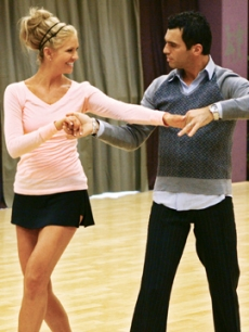 Nancy O&#8217;Dell and Tony Dovolani during &#8216;Dancing With the Stars&#8217; rehearsals
