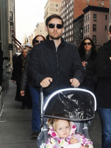 Tobey Maguire takes his daugther Ruby out for a stroll in New York City