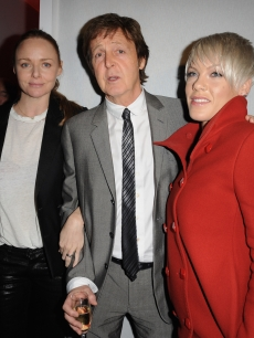 Stella McCartney, Paul McCartney and Pink backstage after the Stella McCartney Ready-to-Wear A/W 2009 fashion show during Paris Fashion Week