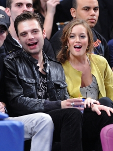 Sebastian Stan and Leighton Meester attend Charlotte Bobcats vs New York Knicks game at Madison Square Garden