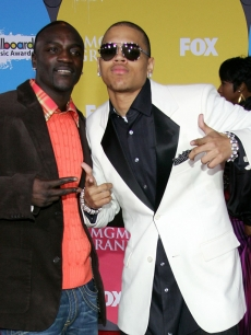 Akon and Chris Brown at the 2006 Billboard Music Awards