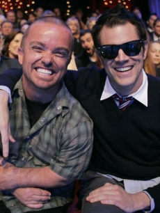 &#8216;Jackass&#8217; funnymen Wee-Man and Johnny Knoxville cheer on their friend Steve-O from the audience DWTS Week 1