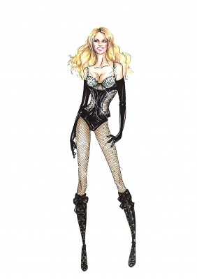 A DSquared2 concept sketch for Britney Spears' 'Circus' tour