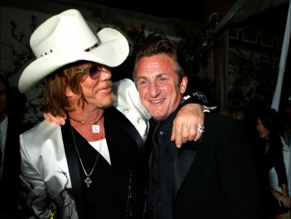 Mickey Rourke and Sean Penn attend the 2009 Vanity Fair Oscar party