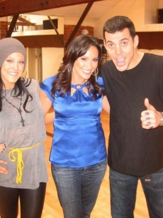 "Lacey Schwimmer, AccessHollywood.com's ""Dish of Salt"" Laura Saltman and Steve-O at 'Dancing' rehearsal"
