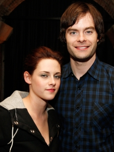 Kristen Stewart and Bill Hader pose at the afterparty for the premiere of Miramax Films&#8217; &#8216;Adventureland&#8217; at Teddy&#8217;s on March 16, 2009 in Los Angeles, California
