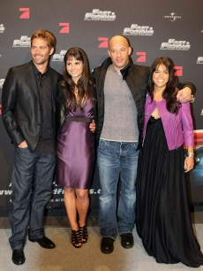 Paul Walker, Jordana Brewster, Vin Diesel and Michelle Rodriguez arrive for the Europe premiere of 'Fast & Furious' on March 17, 2009 in Bochum, Germany