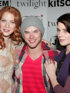 'Twilight' stars Rachelle Lefevre, Kellan Lutz and Ashley Greene smile at the film's DVD and apparel launch at Kitson in LA