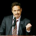 Robert Downey Jr. introduces a clip of his upcoming film 'Sherlock Holmes' at the Paris Las Vegas during ShoWest, March 31, 2009