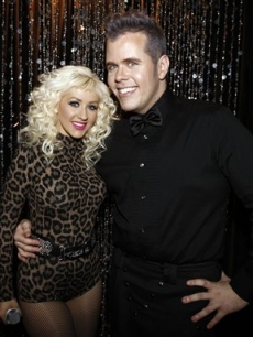 Christina Aguilera, and Perez Hilton pose together at Perez Hilton's 31st Birthday Party in West Hollywood, Calif. on Saturday, March 28, 2009
