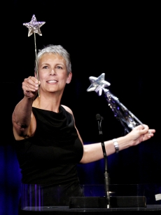 Jamie Lee Curtis appears onstage at Starlight Children's Foundation's Annual 'A Stellar Night' at the Beverly Hilton Hotel