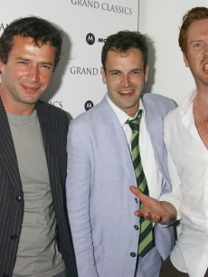 James Purefoy, Jonny Lee Miller and Damian Lewis attend Miller's Motorola Grand Classics Screening of 'Singin' In The Rain' at the Electric Cinema on July 11, 2005 in London, England