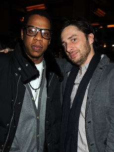 Jay-Z and Zach Braff at the Topshop VIP dinner in New York