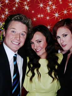 Billy Bush with 'Sorority Row' stars Briana Evigan and Rumer Willis at ShoWest 2009