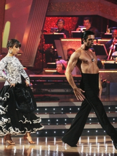 A shirtless Gilles Marini struts his stuff with partner Cheryl Burke on Monday&#8217;s &#8216;Dancing With The Stars&#8217;