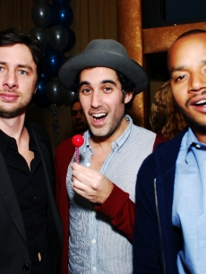Zach Braff celebrates his 34 birthday at Citrine in NYC with friends Joshua Radin and Donald Faison
