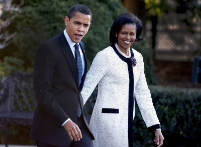 President Barack Obama and wife Michelle in Maryland before leaving for London on March 31, 2009