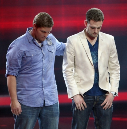 Contestants Michael Sarver and Matt Giraud on FOX's 'American Idol' on Thursday, March 26