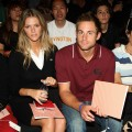 Brooklyn Decker and Andy Roddick attend the Lacoste Spring 2009 fashion show during Mercedes-Benz Fashion Week at The Tent in Bryant Park on September 6, 2008