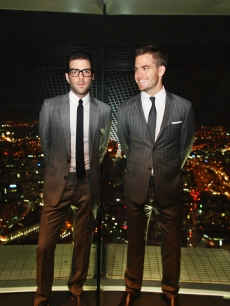 Zachary Quinto and Chris Pine pose for a photo up at the sky deck during the Premier of 'Star Trek' at Sky City on April 9, 2009 in Auckland