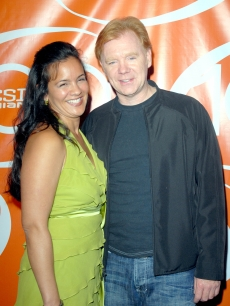 David Caruso and Liza Marquez at the celebration for the 100th episode of 'CSI Miami'