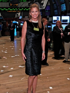 Kathy Ireland tours the trading floor at New York Stock Exchange on April 9, 2009 in New York City