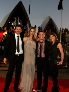 Tara Moss, Rove McManus and his girlfriend Tasma Walton arrive at the World Premiere of J.J. Abrams's 'Star Trek' at the Sydney Opera House on April 7, 2009 in Sydney