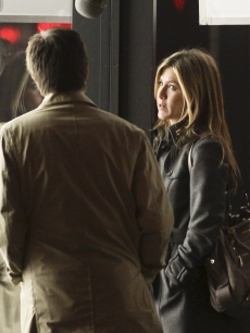 Jason Bateman and Jennifer Aniston film a scene for 'The Baster' in New York
