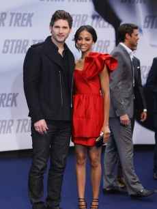 Eric Bana and actress Zoe Saldana attend the 'Star Trek' Germany premiere on April 16, 2009 in Berlin, Germany