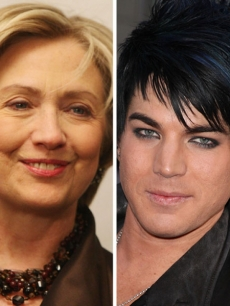 Hillary Clinton and &#8216;American Idol&#8217; contestant Adam Lambert