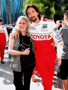 Sylvia Plachy and son Adrien Brody pose at the Toyota Grand Prix of Long Beach celebrity race