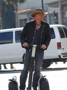 Woody Harrelson goes for a ride on the set of 'Zombieland' in LA