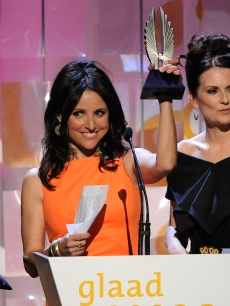 Julia Louis-Dreyfus accepts her awards for Outstanding Individual Episode at the 20th Annual GLAAD Media Awards in LA
