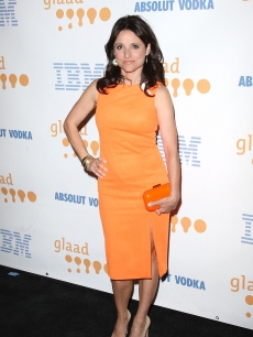 Julia Louis-Dreyfus in orange on the red carpet at the 20th Annual GLAAD Media Awards in LA