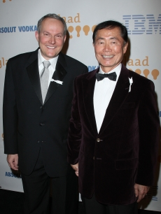 Brad Altman and husband George Takei arrive at the 20th Annual GLAAD Media Awards in LA