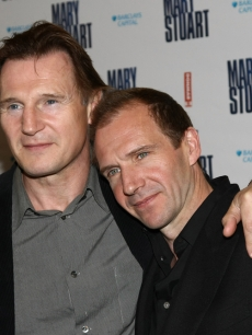 Liam Neeson and Ralph Fiennes at the opening night of 'Mary Stuart' in New York
