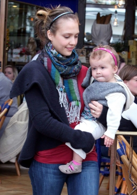 Jessica Alba and baby Honor at the Little Next Door Restaurant in West Hollywood