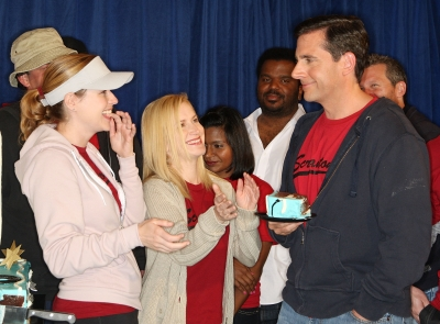 Jenna Fischer, Angela Kinsey and Steve Carell attend &#8216;The Office&#8217; 100th Episode Celebration at the Calamigos Ranch on April 14, 2009 in Malibu
