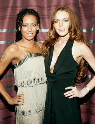 Mel B and Lindsay Lohan at the opening night of 'PEEPSHOW' at the Planet Hollywood Resort & Casino in Las Vegas