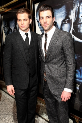 Chris Pine and Zachary Quinto attend the UK premiere of Star Trek held at the Empire Leicester Square on April 20, 2009 in London