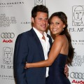 Nick Lachey and Vanessa Minnillo arrive at the LA Art and Antique Show and P.S. Arts Benefit at Barker Hanger on April 22, 2009 in Santa Monica