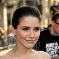 Sophia Bush smiles in black and white at the 'Star Trek' Hollywood premiere