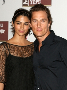 Camila Alves and boyfriend Matthew McConaughey at the opening of the Malibu Lumber Yard