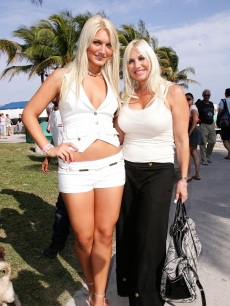 There's no mistaking this mother daughter duo! Brooke and Linda Hogan are seen out in Miami, Florida