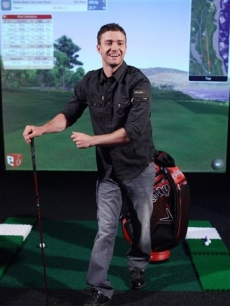Justin Timberlake gets ready to try out Callaway Golf's Big Bertha Diablo driver on the set of 'Jimmy Kimmel Live!'