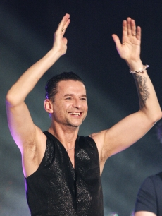 Dave Gahan of the rock band Depeche Mode performs on 'Jimmy Kimmel Live!' at Hollywood and Vine on April 23, 2009