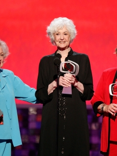 Betty White, Bea Arthur, and Rue McClanahan accept the Pop Culture Award onstage during the 6th annual 'TV Land Awards' held at Barker Hangar on June 8, 2008 in Santa Monica, California