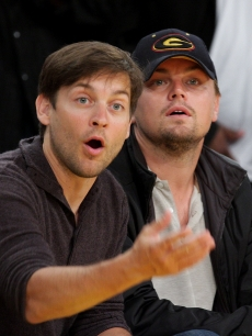 Tobey Maguire and Leonardo DiCaprio at the Los Angeles Lakers vs Utah game at Staples Center on April 27, 2009